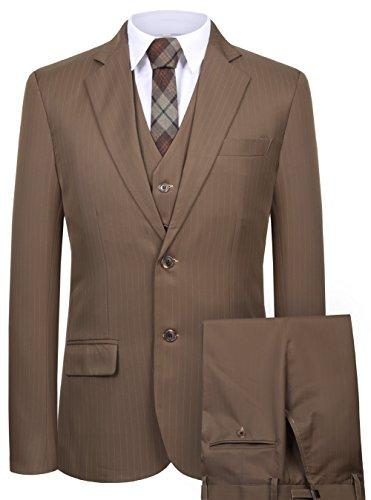 CMDC Men's 3 Pieces Business Suits Slim Fit Stripe Blazer Jacket Vest Pants Set SI137 (Brown,42)