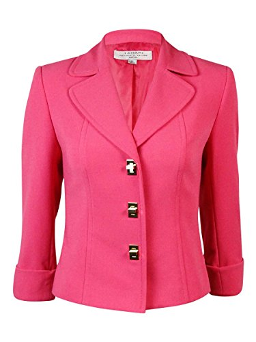 Tahari Women's Cuffed Notched Lapel Ponte Turnlock Blazer (24W, Strawberry)