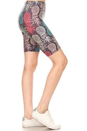 Leggings Depot LBKX-R810-2X Pineapple Chalkart Printed Biker Shorts, 2X Plus
