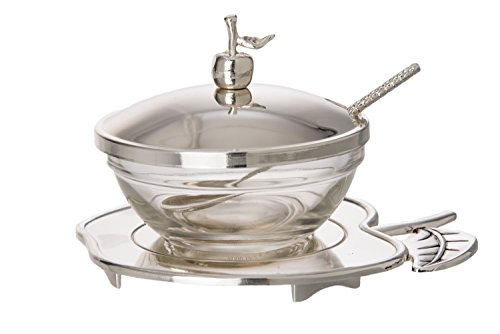 Silver-plated-Adorn-Rosh-Hashana-Honey-Dish-Spoon-saucer