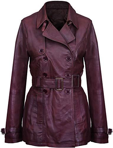 3/4 Leather Coat Ladies - Women's 3/4 Conker Brown Ladies Lamb Leather Nappa Trench Coat 10