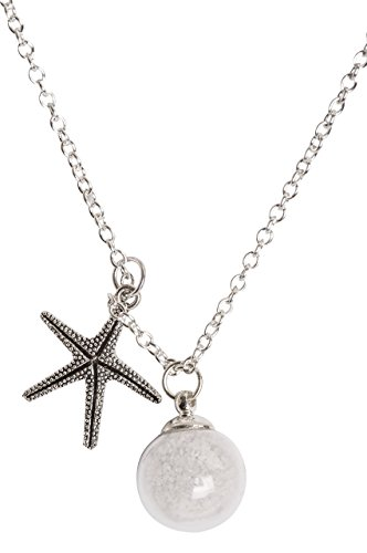 Starfish Sand Necklace and Made a Difference to that One Story Card. Hand blown Glass bulb with sand and detailed starfish charm on long necklace. Great Thank You for those (Beach Necklaces)
