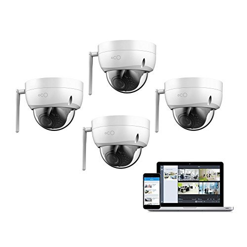 Oco OP-DOME4 Pro Dome Outdoor/Indoor 1080P Cloud Surveillance and Security Camera with Remote Viewing, 4 Piece
