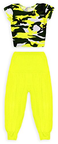 [Jolly Rascals Girls Neon Camo Crop Top Harem Pant Outfit Neon Yellow 7-8 Years] (Neon Outfits)