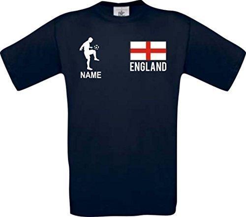 Shirtstown Camiseta De Hombres Camiseta de Fútbol Inglaterra con su Nombre Deseado Impreso - Azul Marino