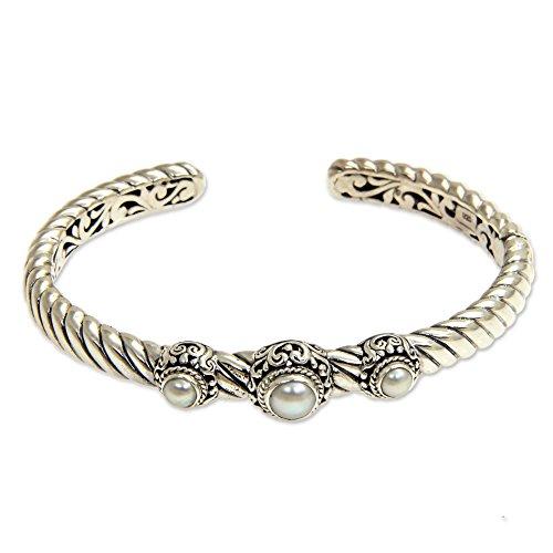 NOVICA Silver White Cultured Freshwater Pearl Sterling Silver Bracelet, 5.5