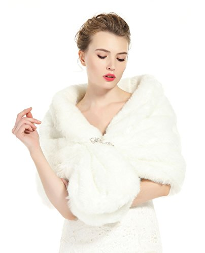 Faux Fur Shawl Wrap Stole Shrug Winter Bridal Wedding Cover Up Ivory Size L by BEAUTELICATE