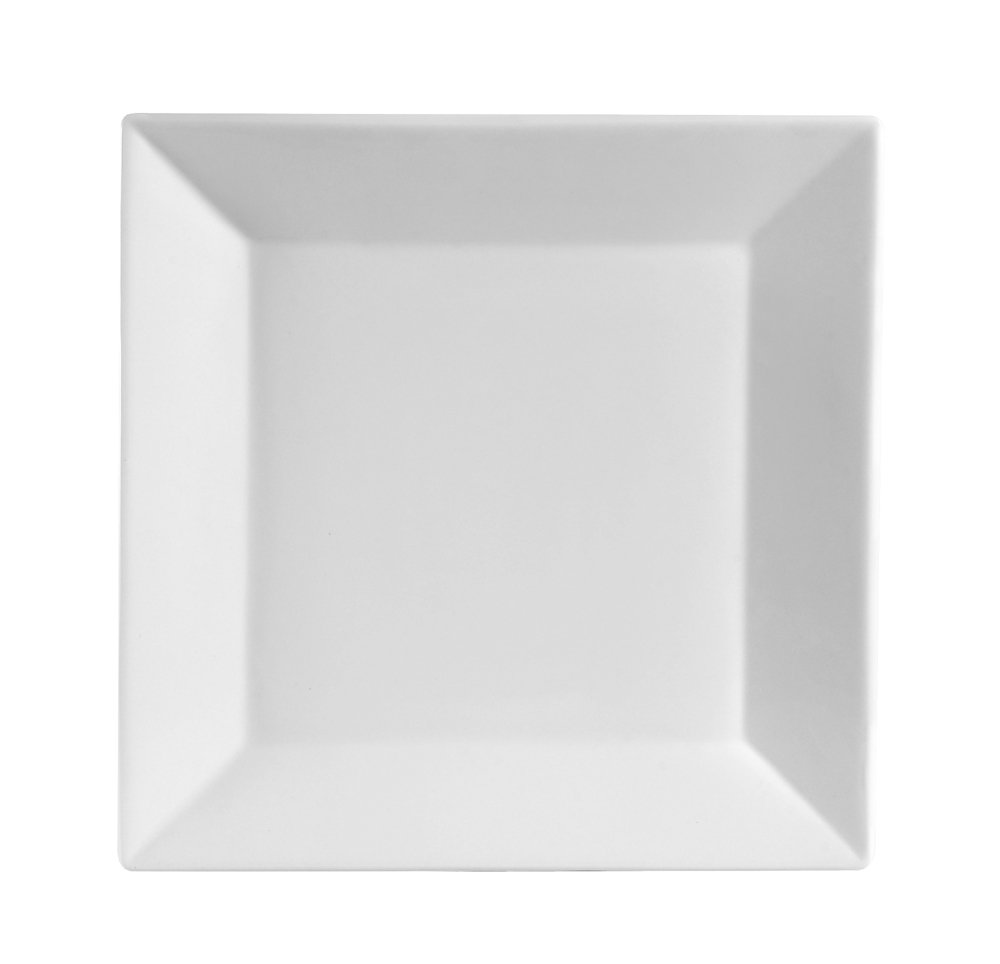 CAC China KSE-6 Kingsquare 6-Inch Super White Porcelain Square Plate, Box of 36