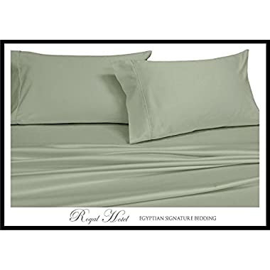 Royal Hotel's Solid Sage 600-Thread-Count 4pc Queen Bed Sheet Set 100% Egyptian Cotton, Sateen Solid, Deep Pocket