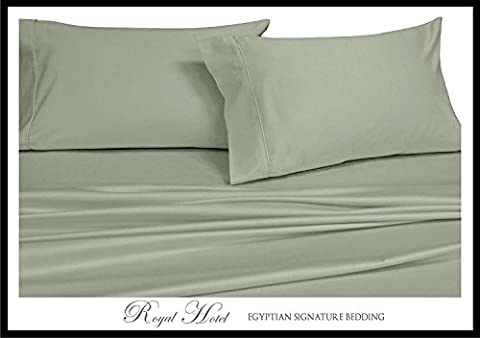 Royal Hotel's Solid Sage 550-Thread-Count 3pc Twin-Extra-Long Bed Sheet Set 100% Combed Cotton, Sateen Solid, Deep - Sateen Single