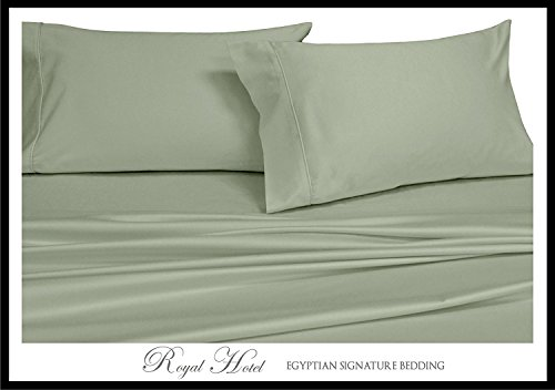 Royal Hotel's Solid Sage 550-Thread-Count 4pc King WATERBED SHEETS, 100-Percent Combed Cotton, Sateen Solid, Deep Pocket