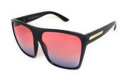 WebDeals - Square Flat Top Sunglasses Oversize Retro Designer Frame (Black, - Square Big Sunglasses Designer