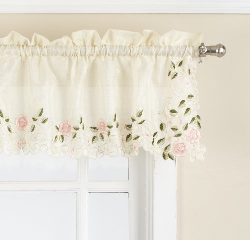 LORRAINE HOME FASHIONS Rosemary Tailored Valance, 58 by 12-Inch, Rose