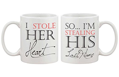 I Stole Her Heart, So I'm Stealing His Last Name Couple Mugs - His and Hers Matching Coffee Mug Cup Set - Perfect Wedding and Engagement Gift for Newlyweds (Matching Mug Set)
