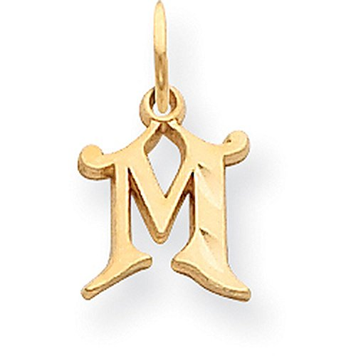 14k Yellow Gold Diamond-cut Cursive Script Initial Pendant - Letter M - Yellow Gold (Letter Yellow 14k Gold)