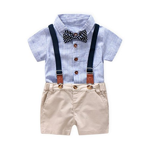 DIGOOD for 0-3 Years Old,Toddler Baby Boys Bowtie Romper+Overall Short Pants,Little Gentleman Formal Outfits Clothes Sets (Blue, 6-12 (Boys Formal Dress)