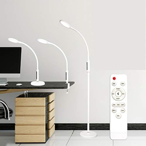 Syrinx 3 in 1 LED Floor Lamp, Desk Lamp, Clamp-on Lamp With Remote Control, 5 Brightness Levels & 5 Colors Temperatures…