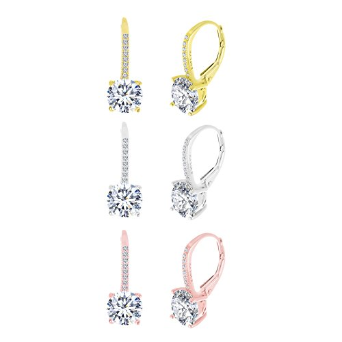 Nickel Free Costume Jewellery Uk (Sterling Silver Round Cubic Zirconia Drop Leverback Earring Bridal Bridesmaids Gift 3 Pair Set (Three Color Set))