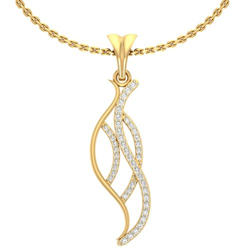 18 K Or jaune 0,15 CT TW Round-cut-diamond (IJ | SI) diamant Pendentif