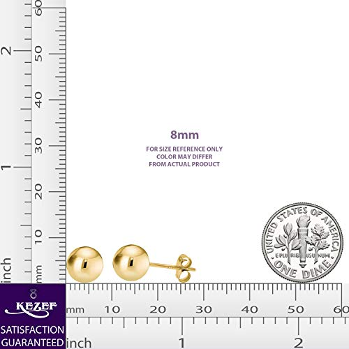 14K Yellow Gold Filled Round Ball Stud Earrings Pushback 8mm by Kezef (Image #5)