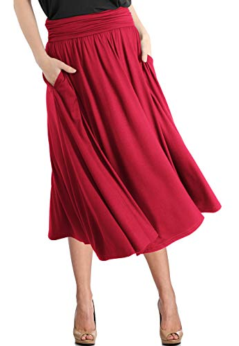 TRENDY UNITED Women's Rayon Spandex High Waist Shirring Flared Pocket Skirt (S0030-RED, S) -