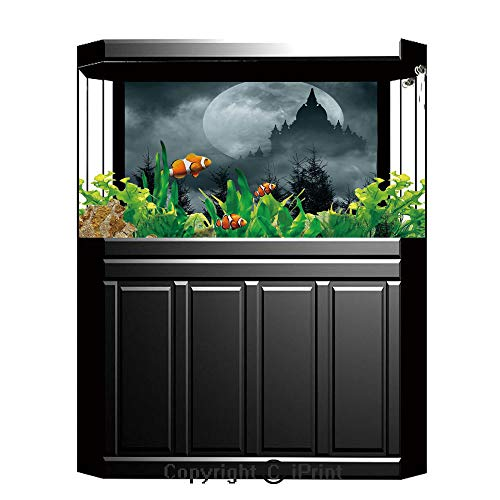 Terrarium Fish Tank Background,Halloween,Magic Castle Silhouette over Full Moon Night Fantasy Landscape Scary Forest,Grey Pale Grey,Photography Backdrop for Pictures Party -
