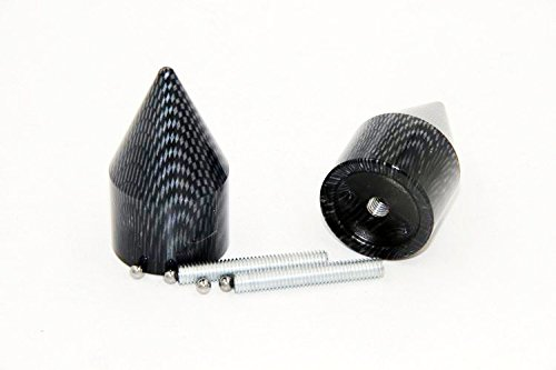NBX- Carbon Spike Bar Ends Hand Grip Handlebar End Caps For Compatible with Suzuki GSXR 750 ()
