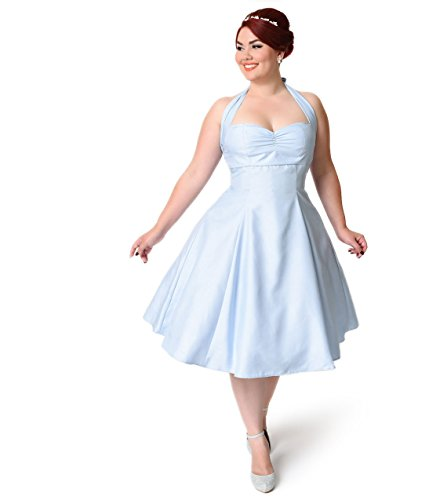 Heart of Haute Plus Size 1950s Dusty Blue Halter Shantung Yvette Bridesmaid Dress