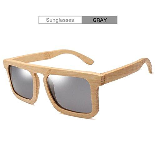 De Sombreado De Bambú Gray amp;HA Lente De Moda Gafas La Polarizadas Unisex Madera Resina Hecho Gafas Anti Vendimia Mano De De Sol Marco Z Gray Niebla A De vq8F1w8U