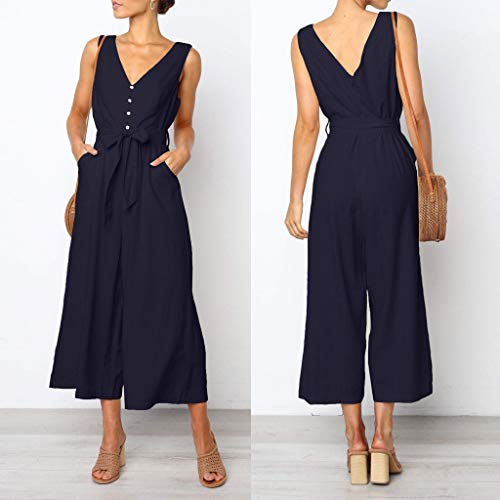 Pervobs Women Sleeveless V-Neck Backless Solid Button High Waisted Wide Leg Jumpsuit Casual Loose Beach Playsuits(XL, Navy) by Pervobs Women Pants (Image #1)