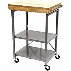 Origami Foldable Kitchen Island Cart, Silver