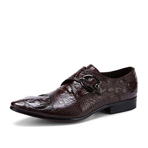 HUAN Scarpe da Uomo in Pelle Primavera Autunno Moda Stivali Comfort Oxfords Stringate per Lavoro Formale Casual Business Nero, Caffè B