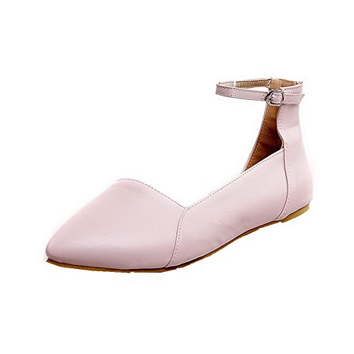 AalarDom Womens Closed-Toe Low-Heels PU Solid Buckle Sandals Pink