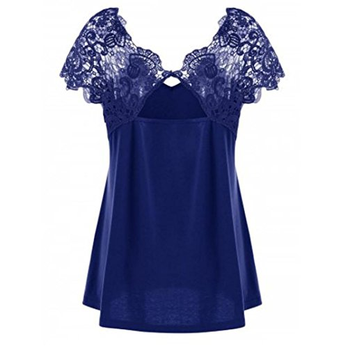Rakkiss Womens Fashion V-Neck Plus Size Lace Short Sleeve Trim Cutwork T-Shirt Tops (4XL, ()