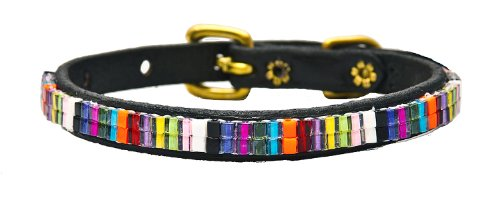 Just Fur Fun Dog Collar, Candy Shop, 14-Inch, Black Leather