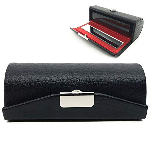 Leather Small Lipstick Case Holder with Mirror Organizer Bag for Purse Lipstick Holder,Cosmetic Storages for Ladies (1 Pack (Black))
