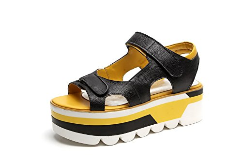 Assorted Cow Toe Leather Round Sandals Colors with Black Open Kitten AllhqFashion Heels Womens twqIREWv