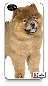 Happy Chow Chow Puppy Dog Animal iPhone 4 Quality Hard Snap On Case for iPhone 4 4S 4G - AT&T Sprint Verizon - White Case Cover by supermalls
