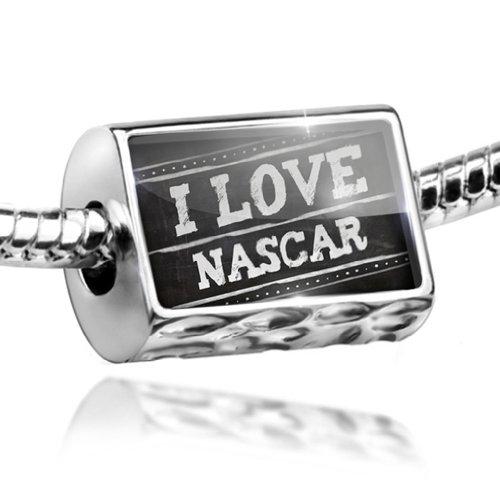 Nascar Charm - Charm Chalkboard with I Love Nascar - Bead Fit All European Bracelets , Neonblo