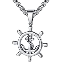 "LineAve Men's Stainless Steel Anchor and Ship Wheel Pendant Necklace, 23 + 2"" Ext, 8a0019"
