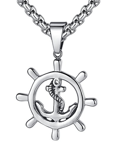 Ships Wheel Pendant - LineAve Men's Stainless Steel Anchor and Ship Wheel Pendant Necklace, 23 + 2
