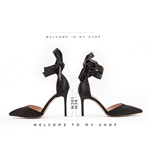 spillo Black senza da estiva nude con tacchi multa Size a da donna Cheng in 8cm intestazione Color tacco Electronic Chi di business sposa seta con Fang selvatici scarpe alto 33 sandali raso qFHT6fX