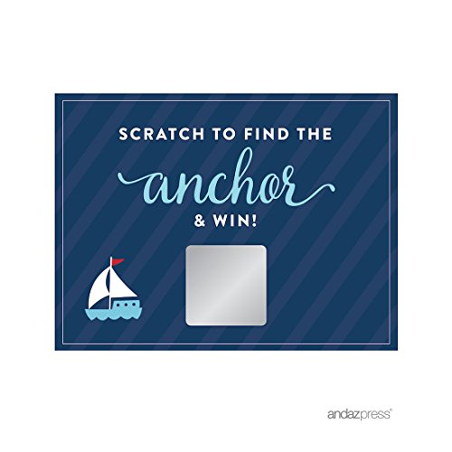 (Andaz Press Nautical Baby Shower Collection, Games, Activities, Decorations, Baby Scratch Off Winner Game Cards, 30-Pack)