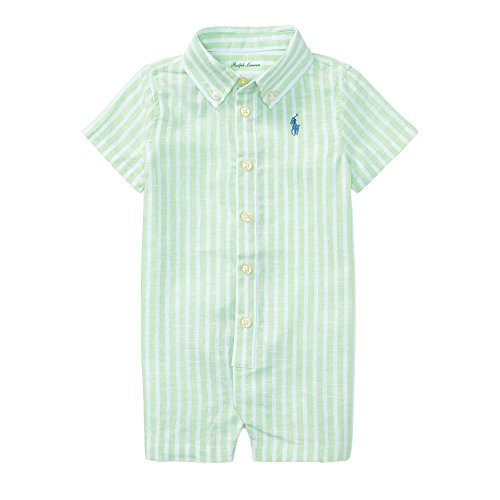 Ralph Lauren Baby Boys Striped Linen-Cotton Shortall (18 Months, Lime/White) (Shortall Striped White)