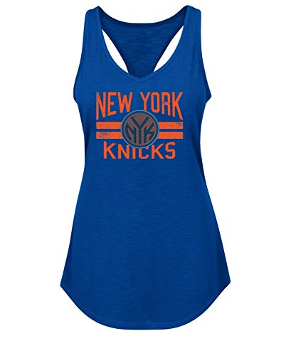 NBA New York Knicks Women's Entice & Delight Short Sleeve Racerback V-Neck Tank Tee, Large, Deep Royal (Charlotte Bobcats Jersey)