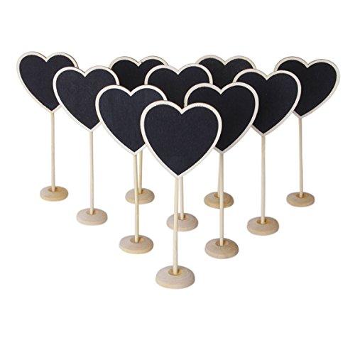Wooden Heart-shaped Blackboard with Base (Black) - 2