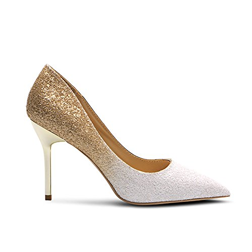 Jqdyl Mouth 5 Shallow New High Spring Silver Heels Shoes Gradient With And Gold Sequins Women'S white Wedding With High Autumn 5CM Pointed heels Fine Shoes g7wqrOg