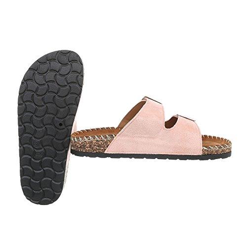 Ital-Design Pantoletten Damenschuhe Sandalen & Sandaletten Altrosa CK01