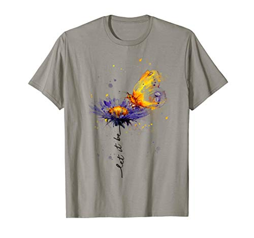 Tee Let It Be Flower Butterfly Graphic T-Shirt
