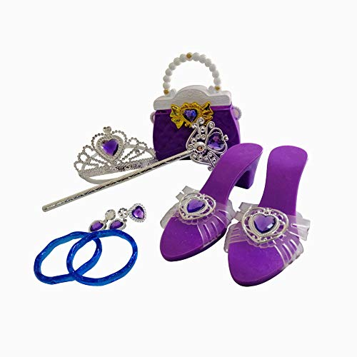 Girls Princess Dress Up Shoes & Role Play Party Jewelry Set Accessories,with Handbag, Tiara,Bracelets,Ring,Earrings,Wand (Purple)